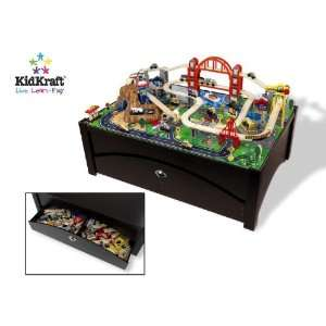 KidKraft Metropolis Train Set on Table With Trundle  Toys & Games