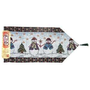 Winter Snowman Holiday Table Runner   13 x 36