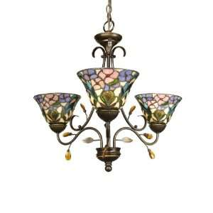 Dale Tiffany TH90214 Crystal Peony 3 Light Chandeliers in