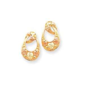10k Tri color Black Hills Gold Oval Earrings Jewelry
