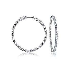 . White Gold Inside Out Diamond Hoop Earrings (1.35ct. tw. G H color