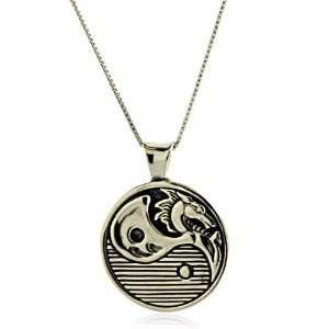 Sterling Silver Dragon Yin Yang Charm Pendant TrendToGo Jewelry