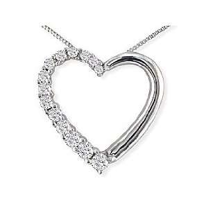 1/4ct Journey Diamond Heart Pendant White Gold Necklace