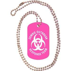 Zombie Outbreak Response Team Pink Dog Tag with Neck Chain