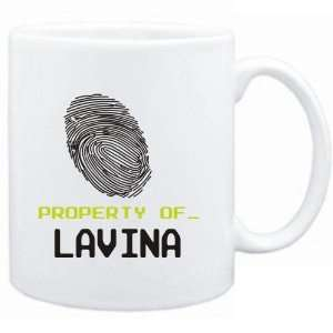 Mug White  Property of _ Lavina   Fingerprint  Female Names