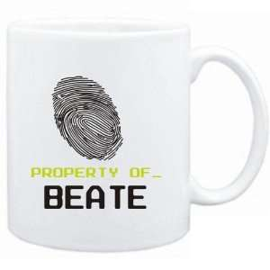 Mug White  Property of _ Beate   Fingerprint  Female