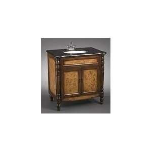 Light & Dark Brown Cabinet Sink W/Black Top, White Sink