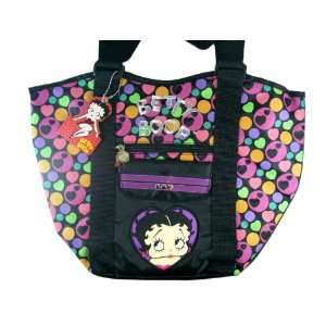 Large Black Tote Bag w/ Rainbow Hearts & Circles   Black Toys & Games