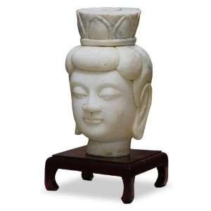 Marble Buddha Head Sculpture