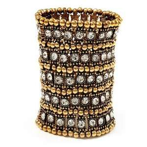 Egyptian Style Flex Bracelet (Burn Gold Tone Finish)   17cm Length