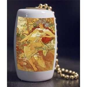 Fine Art Mucha Autumn Porcelain Fan / Light Pull Home