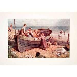 1906 Color Print Myles Birket Foster Children Boat Sea