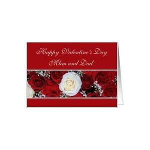 Mum and Dad Happy Valentines Day red and white roses Card