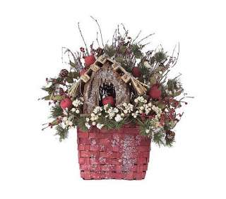 Winter Christmas Country Birdhouse Basket Door Decor Basket Valerie