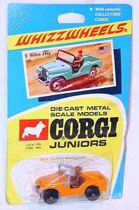 Corgi Juniors #5 WILLYS JEEP Orange Whizzwheels NMOC`70
