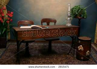 Old Fashioned School Desk And Chairs On Stage Stock Photo 2815471