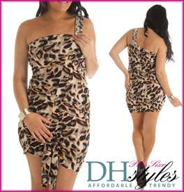 Mary 132X Gray Black Sexy Leopard Print One Shoulder Plus Size Dress