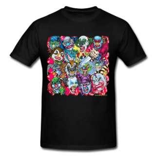 Black Evil Clowns All Over T Shirts  Mens Heavyweight T Shirt