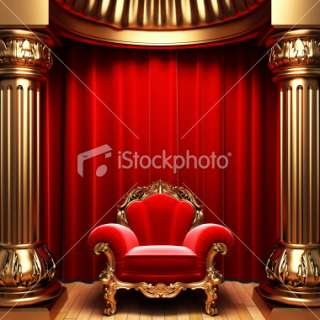 red velvet curtains, gold columns and chair Royalty Free Stock Photo