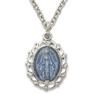 St. Blue Silver Virgin Mary Miraculous Medal, Necklace,