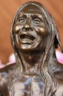 Signed Shaman Native American Indian Bronze Sculpture Figure Figurine
