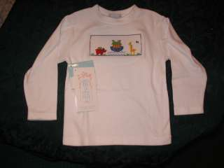 La Fete Baby Boy Girl Smocked LS Tee shirt 2T NOAHS ARK animals
