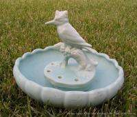 Vintage Signed Weller American Art Pottery Bowl Kingfisher Flower Frog
