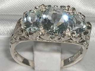 LARGE SOLID SILVER 3ct NATURAL ICE BLUE AQUAMARINE RING