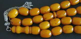 PRAYER BEADS KAHRAMAN AMBER FATURAN BARREL CUT VINTAGE