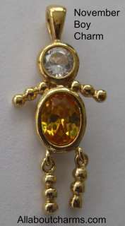 GOLD NOVEMBER BOY BIRTHSTONE BRAT / KID CHARM PENDANT