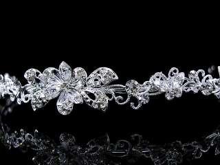 Flower Leaf Wedding Bridal Flower Girl Crystal Headband Tiara