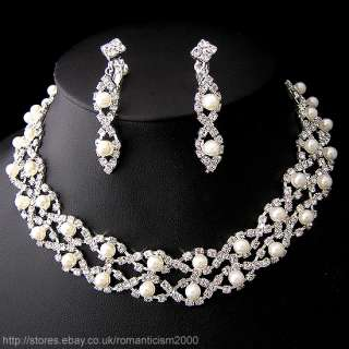 Wedding/Bridal crystal necklace earrings set S066