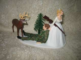 HUMOROUS WEDDING CAMO DEER HUNTER HUNTING CAKE TOPPER