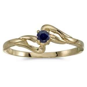 14k Yellow Gold September Birthstone Round Sapphire Ring Jewelry