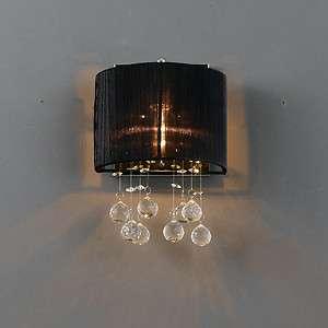 New Ribbon Fabric Shade Sconce Glass Crystal Wall Lamp