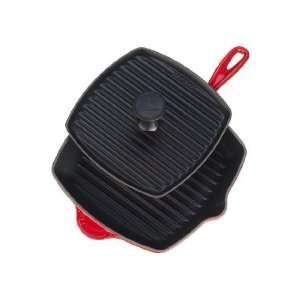 Le Creuset Enameled Cast Iron Panini Press Skillet Grill Set CHERRY