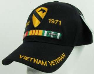 NEW BLACK U.S. ARMY 1ST CAVALRY VIETNAM VETERAN BASEBALL CAP