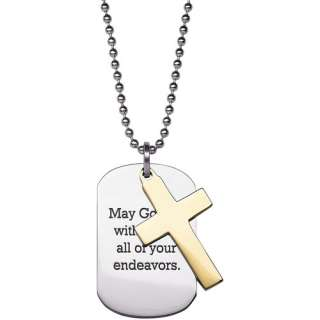 Personalized Two Tone Cross and Engraved Dog Tag Stainless Steel