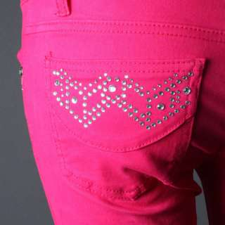 Premium Multi Colors Denim Jeans Fitted Rhinestone Zipper Skinny Pants