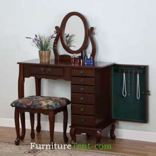 Heirloom Cherry Jewelry Armoire Vanity Set with Mirror and Bench