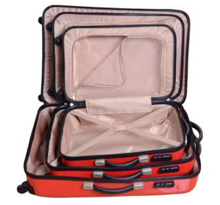 Luggage Bag Set Travel Case Suitcase Upright Rolling Wheel Red 3pcs 28