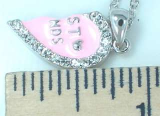 BEST FRIEND Heart Pink 2 Pendants 2 Necklaces New