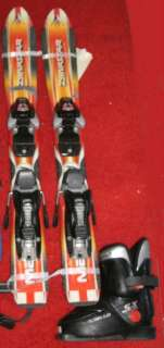 Kids Ski package set up Dynastar max skis bindings boots poles used 80