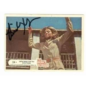 Lindsay Wagner Autographed/Hand Signed card The Bionic Woman #24