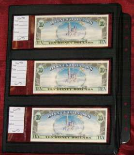 10 Disney Dollar deluxe Currency SHEETS