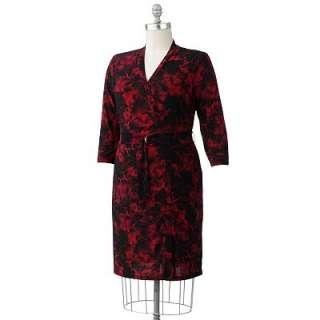 Chaps Floral Faux Wrap Dress Womens Plus