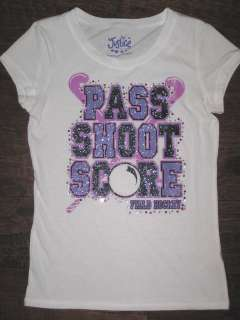 Justice Girls Pass Shoot Score Field Hockey Bling Graphic Tee Top NEW