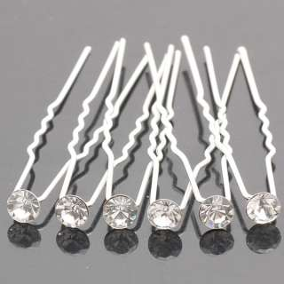 6pcs 10pcs 20pcs Wedding Bridal Hair Pin Clear Swarovski Crystal