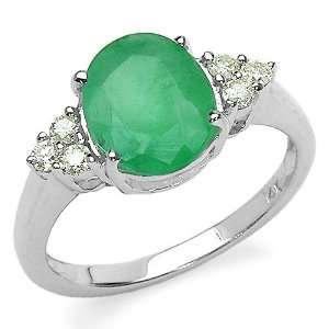 Gold 3.20 Carat Genuine Emerald Oval & Diamond Accent Ring Jewelry