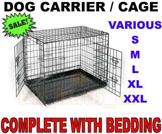 Folding Dog pet Animal Crate Cage Carrier Folds flat & Bed Bedding S M